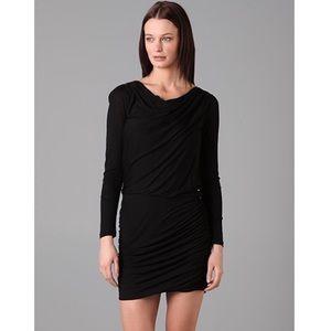 THEORY Lavanien Black Ruched Long sleeve Dress